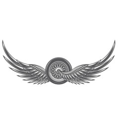 Monochrome with wings and wheel vector