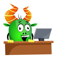 monster browsing on computer on white background vector image