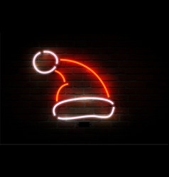 neon santa claus hat happy new year theme vector image