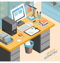 Office Room Isometric Design Concept vector