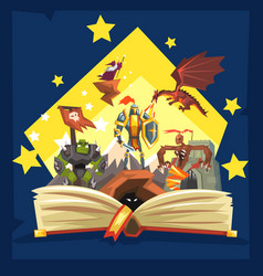 Open book with legend fairy tail fantasy book vector