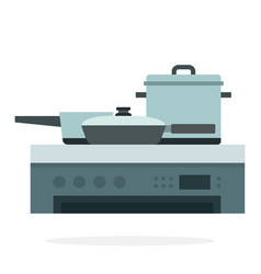 Pans and saucepan on stove flat isolated vector