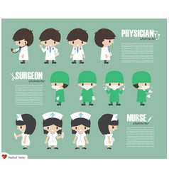 Physician surgeon and nurse cartoon character vector