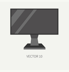 Plain flat color computer part icon lcd vector