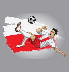 Poland soccer player with flag as a background vector
