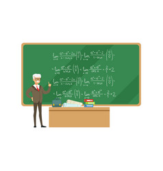 Professor near the blackboard with formulas vector