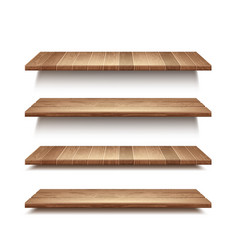 Realistic set empty wooden shelves vector