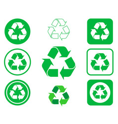 recycling recycle icon shape sign set button vector image