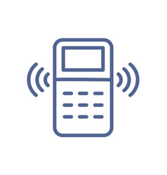 remote controller with signal waves icon in line vector image