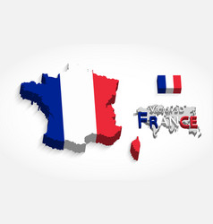 Republic france 3d flag and map vector