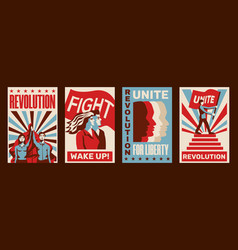 revolution posters set vector image