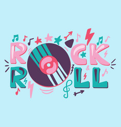 rock n roll hand drawn color lettering vector image