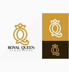Royal queen crown logo design abstract emblem vector