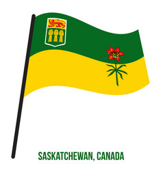 Saskatchewan flag waving on white background vector