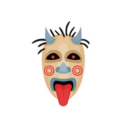 scary mask with horns black eyes and tongue out vector image