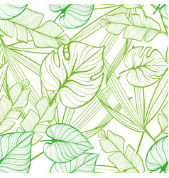Seamless floral pattern with tropical leaves line vector