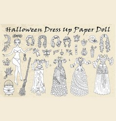 set dress up paper doll with halloween costumes vector image