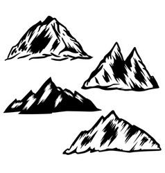 set hand drawn mountain design element for vector image