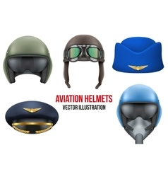 Set of Aviator Helmets and hats vector image