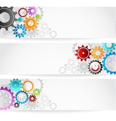 set of gears banner for business commerce vector image
