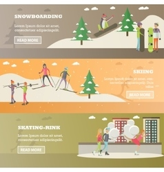 Set winter sports and recreation concept vector