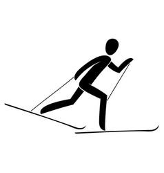 silhouette skiathlon athlete race skiing running vector image