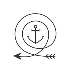 silhouette with arrow in shape circular and anchor vector image