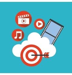 social media marketing line icons vector image