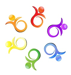 Teamwork flower logo vector image