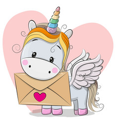 Valentine card with cute cartoon unicorn vector