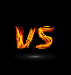 versus flame letters fight background vector image