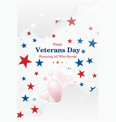 Veterans day greeting card with font inscription vector