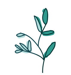 Watercolor hand drawn silhouette of branch with vector
