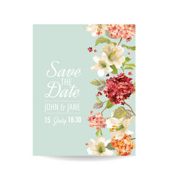 Wedding card with autumn vintage hortensia flowers vector