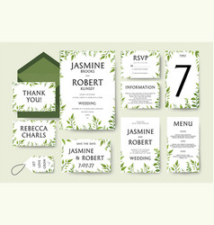 Wedding invitation invite card design tree green vector