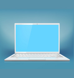 white laptop on a blue background vector image