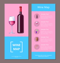 wine map alcoholic menu icons vector image