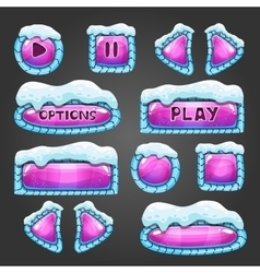 Winter cartoon pink buttons with snow vector