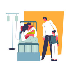 Woman holding newborn child in hospital bed vector