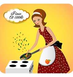 Woman preparing food vintage vector image