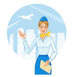 Young cheerful stewardess eps10 vector image