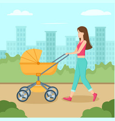 young mother walking with bacarriage in park vector image