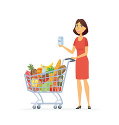 young woman with a shopping cart - cartoon people vector image