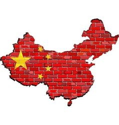 China map on a brick wall vector image