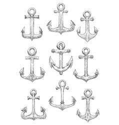Engraving sketched sailing ships anchors icons vector image vector image