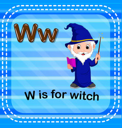flashcard letter w is for witch vector image vector image