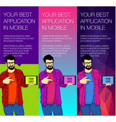 set of colorful banners with the guy and the vector image vector image