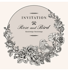 Vintage round frame with birds and roses vector