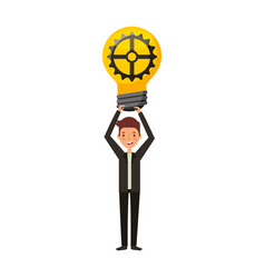 businessman with bulb avatar character icon vector image