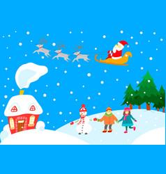 christmas landscape card vector image